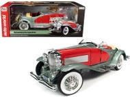 1935 DUESENBERG SSJ SPEEDSTER GREEN & RED 1/18 SCALE DIECAST CAR MODEL BY AUTO WORLD AW279