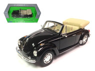 VOLKSWAGEN BEETLE BUG CONVERTIBLE BLACK 1/24 SCALE DIECAST CAR MODEL BY WELLY 22091