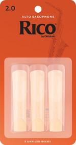 D'Addario Rico Alto Saxophone Reeds, Strength 2.0, 3-pack