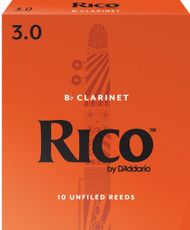 D'Addario Rico Bb Clarinet Reeds, Strength 3.0, 10-pack