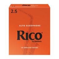 D'Addario Rico Alto Saxophone Reeds, Strength 2.5, 10-pack