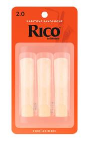D'Addario Rico Bari Saxophone Reeds, Strength 2.0, 3-pack