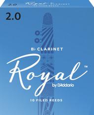 D'Addario Rico Royal Bb Clarinet Reeds, Strength 2.0, 10-pack