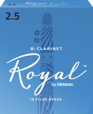 D'Addario Rico Royal Bb Clarinet Reeds, Strength 2.5, 10-pack