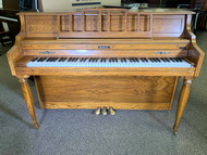 Used Baldwin Classic Console Oak Wood Upright with Bench
