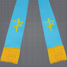 Light Blue and Gold Satin Clergy Stole w/ Cross & Crown