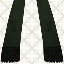 Black and Black Satin Clergy Stole with Crosses