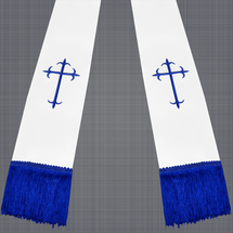 White and Royal Blue Satin Clergy Stole with Crosses