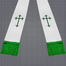 White and Emerald Green Satin Clergy Stole with Crosses