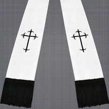 White and Black Satin Clergy Stole with Crosses