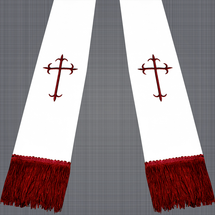 White and Burgundy Satin Clergy Stole with Crosses