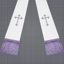 White and Lavender Satin Clergy Stole with Crosses
