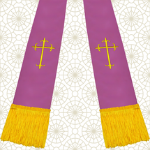 Lavender and Gold Satin Clergy Stole with Crosses