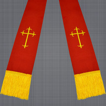Red and Gold Satin Clergy Stole with Crosses