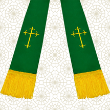 Emerald Green and Gold Satin Clergy Stole with Crosses