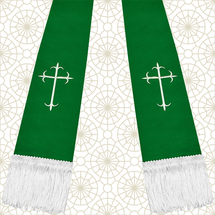 Emerald Green and White Satin Clergy Stole with Crosses