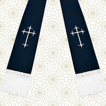 Navy Blue and White Satin Clergy Stole with Crosses