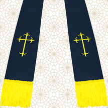 Navy Blue and Gold Satin Clergy Stole with Crosses