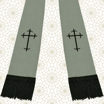 Gray and Black Satin Clergy Stole with Crosses