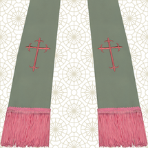 Gray and Pink Satin Clergy Stole with Crosses