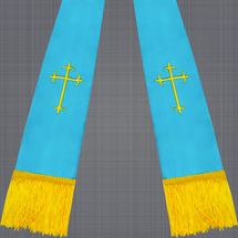 Light Blue and Gold Satin Clergy Stole with Crosses