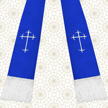 Royal Blue and White Satin Clergy Stole with Crosses