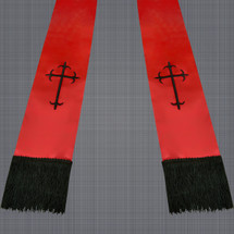 Red and Black Satin Clergy Stole with Crosses