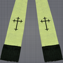Metallic Gold and Black Satin Clergy Stole with Crosses