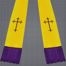 Gold and Purple Satin Clergy Stole with Crosses