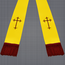 Gold and Burgundy Satin Clergy Stole with Crosses