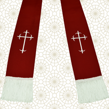 Burgundy and White Satin Clergy Stole with Crosses