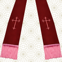 Burgundy and Pink Satin Clergy Stole with Crosses