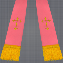 Pink and Gold Satin Clergy Stole with Crosses