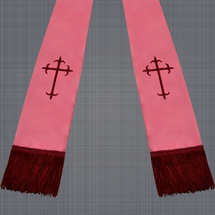 Pink and Burgundy Satin Clergy Stole with Crosses