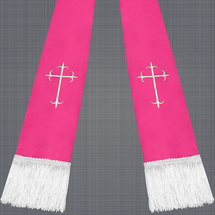 Fuchsia and White Satin Clergy Stole with Crosses