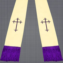 Champagne and Purple Satin Clergy Stole with Crosses