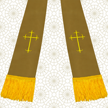 Brown and Gold Satin Clergy Stole with Crosses