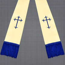 Champagne and Royal Blue Satin Clergy Stole with Crosses