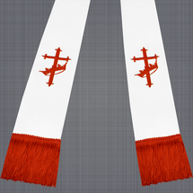 White and Red Satin Clergy Stole with Cross & Crown
