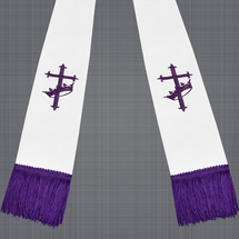 White and Purple Satin Clergy Stole with Cross & Crown