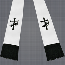 White and Black Satin Clergy Stole with Cross & Crown