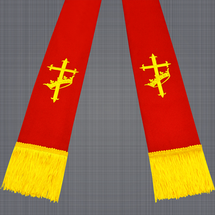 Red and Gold Clergy Stole with Cross & Crown