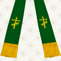 Emerald Green and Gold Satin Clergy Stole with Cross & Crown