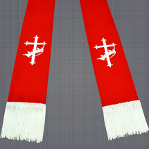 Red and White Clergy Stole with Cross & Crown