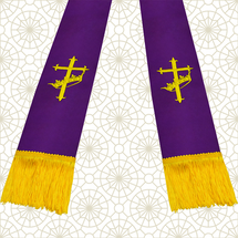 Purple and Gold Satin Clergy Stole with Cross & Crown