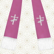 Lavender and White Satin Clergy Stole with Cross & Crown