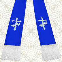 Royal Blue and White Satin Clergy Stole with Cross & Crown