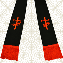 Black and Red Clergy Stole with Cross & Crown