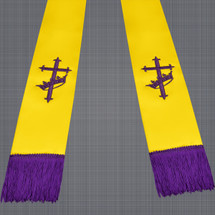 Gold and Purple Satin Clergy Stole with Cross & Crown
