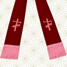 Burgundy and Pink Satin Clergy Stole with Cross & Crown